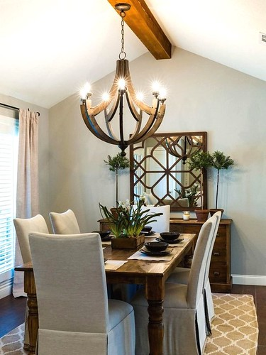 Perfect farmhouse dining room lighting. Clock #lighting #farmhouse #ideas #Room …