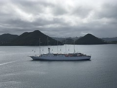 Wind Surf moored by Pigeon Island, St Lucia