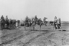 Afghans riding camels near Cunnamulla, ca. 1900