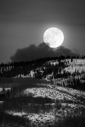 Full moon on winter solstice, Antelope Flats, Grand Teton National Park. December, 2018.