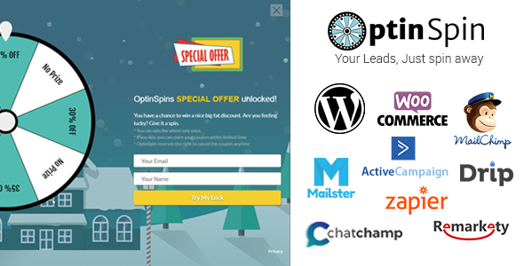 OptinSpin v2.1.3 - Fortune Wheel Fully Integrated With WordPress and WooCommerce Coupons