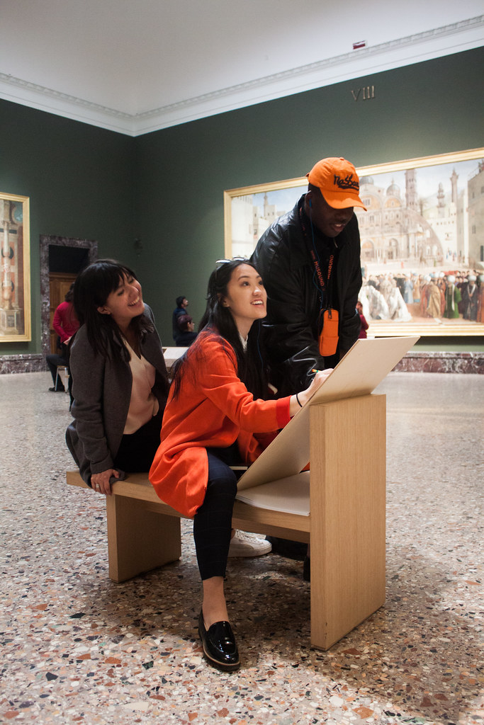 B.Arch. '21 students Elisa Medina-Jaudes, Chi Yamakawa, and Cornelius Tulloch work on a collaborative sketch at the Pinacoteca di Brera.  photo / Joyce Jin (B.Arch. '21)