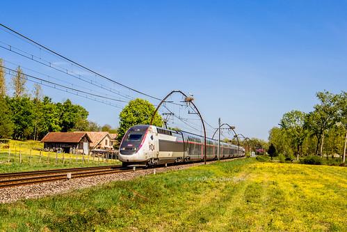 13 avril 2019 TGV D 853 Train 8537 Paris -> Hendaye Rivière-Saas-et-Gourby (40)