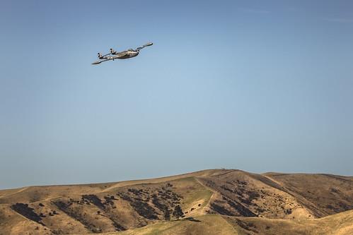 De Havilland DH112 Venom over the hills at Omaka