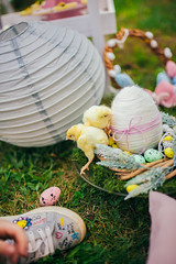 Easter decoration with little chicks