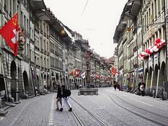 Marktgasse in Bern, Switzerland on a Sunday afternoon