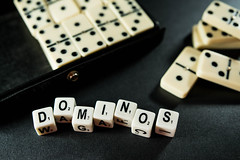 Dice reading DOMINOS