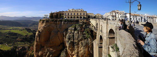 Kanitha enjoying the view from Puente Nuevo in Ronda