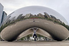 Jumping for joy at The Bean / Cloud Gate