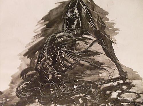 Dibujo surrealista en tinta china