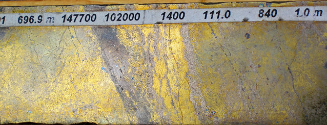 Photo:Polymetallic massive sulfide (Middle Tholeiitic Unit, Kidd-Munro Assemblage, Neoarchean, 2.711 to 2.719 Ga; drill core at the Potter Mine, east of Timmins, Ontario, Canada) 39 By James St. John