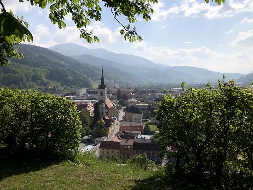 Town and mountain with Liebfrauenkirche, view from Schlossberg, Bruck an der Mur, Austria
