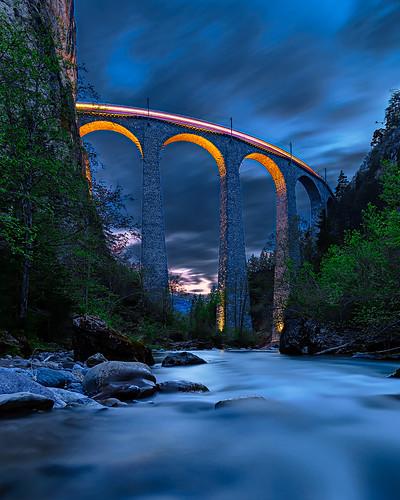 Landwasser Viaduct blue hour