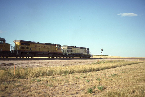 C&NW C40-8 #8505 near Lost Springs WY on 7-27-91