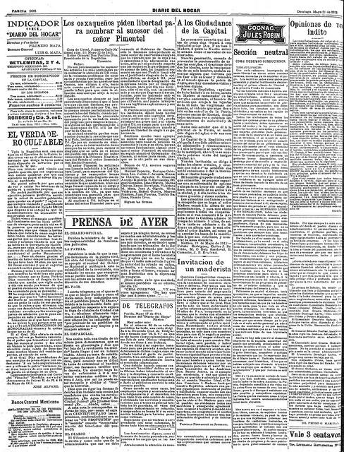 """1911 05 21  El General Díaz sale para el extramjero el día 25 en el  """"España� (Diario Del Hogar). Página 2"""