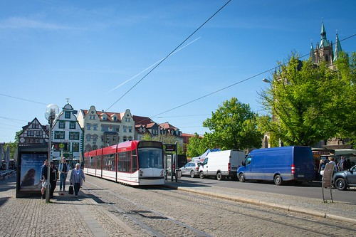 A sunny spring day in the city ... seen in Erfurt, Germany