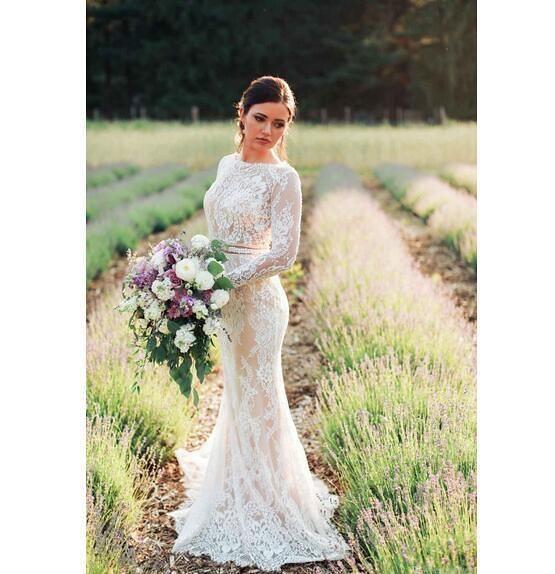 Modest Long Sleeves Mermaid Wedding Dresses Country Style