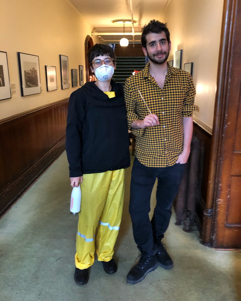 Audrey Wachs and Joel Hochman (both M.R.P. '20) take a photo break during CRP's work weekend at the Oneida Community Mansion House.  photo / Dorothy Qian (M.R.P. '20)