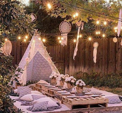 Boho evening baby shower table setting idea