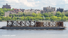 Old Tappan Zee Bridge Superstructure Remains floating down the Hudson River, New York City