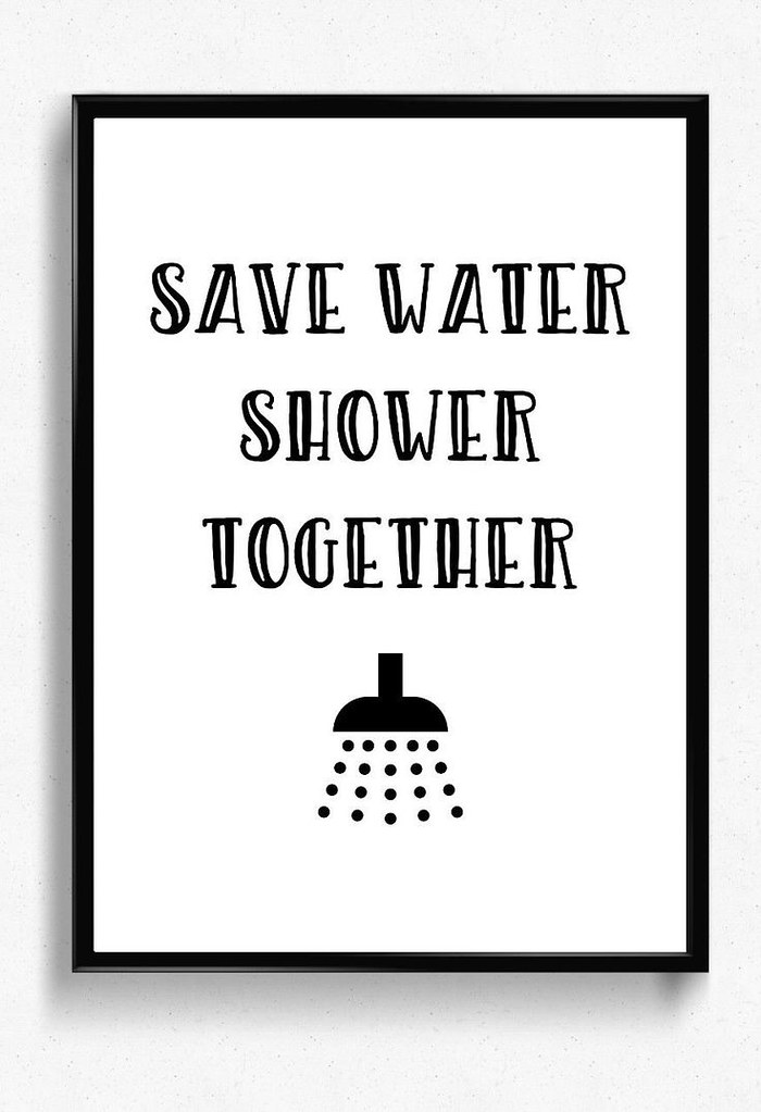 picture regarding Funny Bathroom Signs Printable titled Help you save h2o shower collectively PRINTABLE toilet wall decor