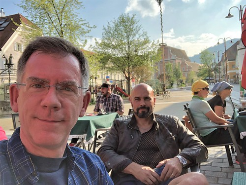 Paul and Alejandro have beer al fresco at Hauptplatz, Frohnleiten, Austria