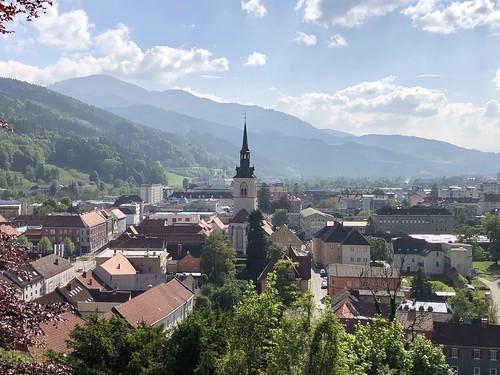 Town and mountains with Liebfrauenkirche spire, view from Schlossberg, Bruck an der Mur, Austria