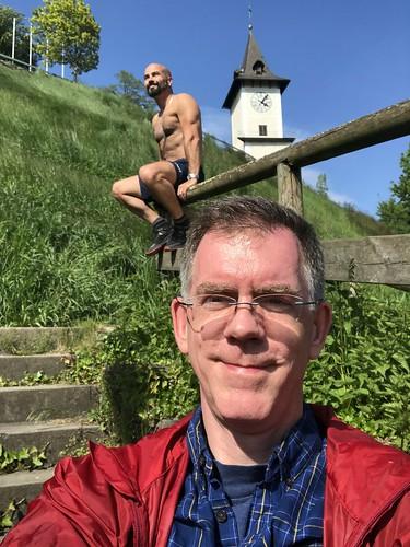 Paul, Alejandro, and Uhrturm, slope of Schlossberg, Bruck an der Mur, Austria
