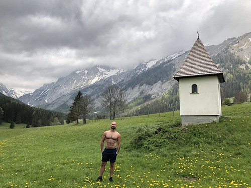 Alejandro poses by the chapel, Untere Dullwitz bei Seewiesen, Austria