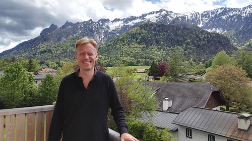 IMG_20190509_143445  Gregers at Hotel Vötterl, Alps with snow in the background, May 2019