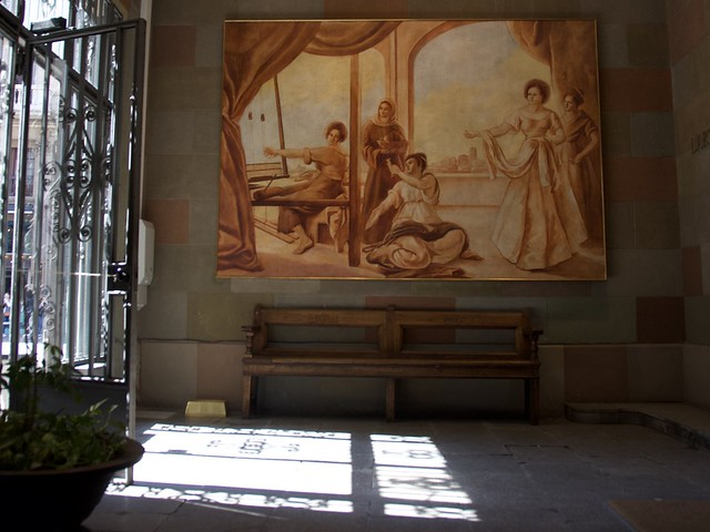 Entrada al Col.legi Major de l'Art de la Seda, Barcelona.