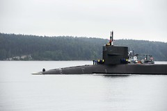 USS Michigan (SSGN 727) arrives at Naval Magazine Indian Island after being forward-deployed for 30-months.