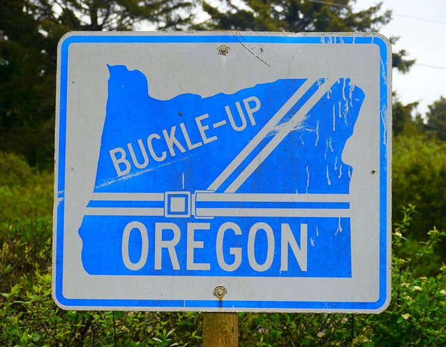 Buckle-Up Oregon sign in Beachside State Recreation Site