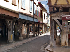 The ancient timber arcades of Mirepoix, Midi-Pyrenees, France. - Photo of Lagarde