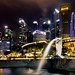 Singapore skyline with Merlion and Fullerton Hotel