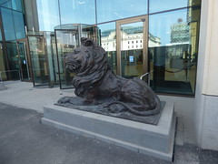 HSBC UK bronze lion statues in Centenary Square