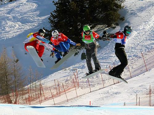 Omar Visintin (ITA), Hanno Douschan (AUT), Senna Leith (USA), Kalle Koblet (SUI). Snowboard Cross World Cup, Veysonnaz, 16/03/2019