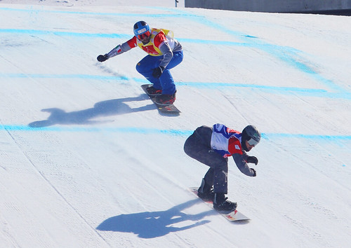 Julian Lueftner (AUT), Fabio Cordi (ITA). Snowboard Cross World Cup, Veysonnaz, 16/03/2019