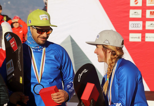 Omar Visintin (ITA), Michela Moioli (ITA). Snowboard Cross World Cup, Veysonnaz, 16/03/2019