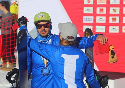 Michela Moioli (ITA), Omar Visintin (ITA). Snowboard Cross World Cup, Veysonnaz, 16/03/2019