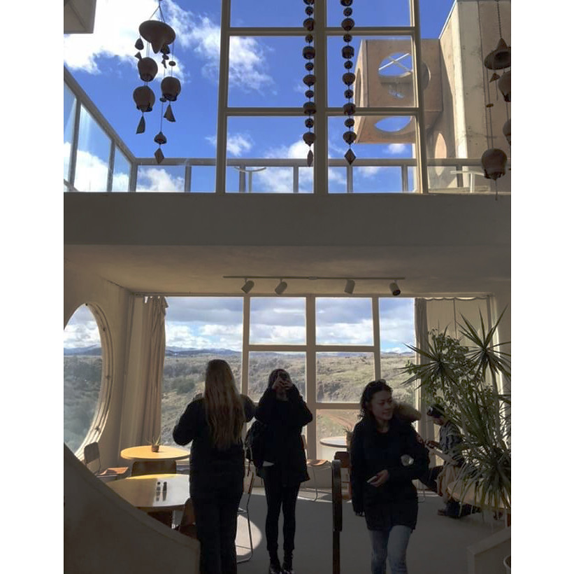 Students view the architecture of the buildings in Arcosanti during a class trip to Grand Canyon National Park with the option studio Found Thing, led by associate professors of the practice Mauricio Pezo and Sofia von Ellrichshausen.   photos / Oonagh Davis (B.Arch. '20)