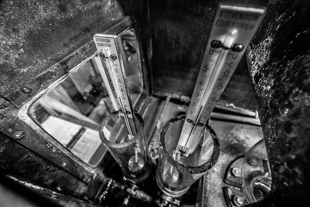 Distilling Thermometers Laphroaig Black and White