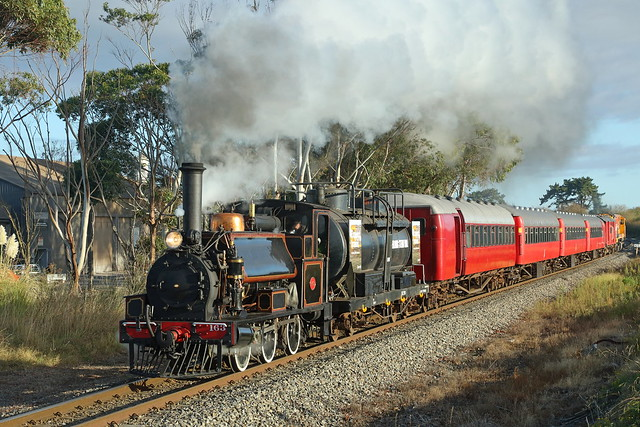 F 163 heads a special train to Woodville out of Palmerston North