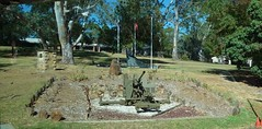 Woodside in the Adelaide Hills. Memorials and gun near the entrance of the Woodside Army Barracks at Inverbrackie.