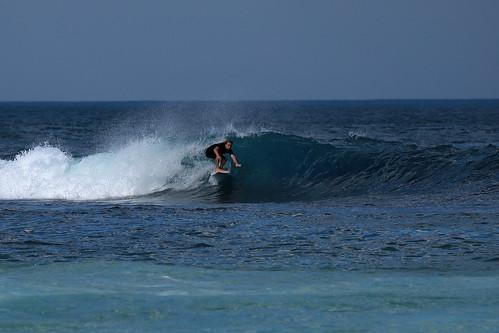 Surfing at Ghosties.