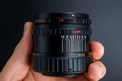 Side view of a Helios 44-3 58mm F2 MC