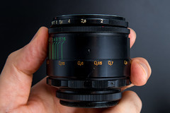 Side view of a Helios 44-2 58mm F2