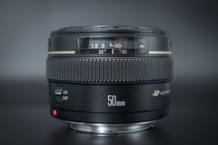 Side view of a Canon EF 50mm F1.4 USM prime lens