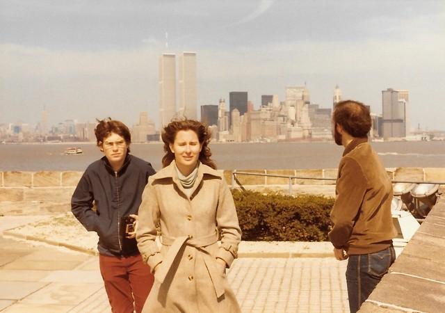 1980 April Me Elaine and Glenn on Liberty Island with NYC skyline (1)