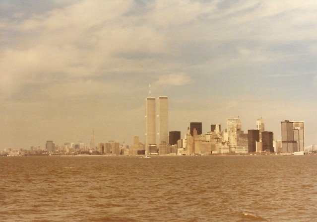 1980 April World Trade Center and NYC skyline from Liberty Island (1)